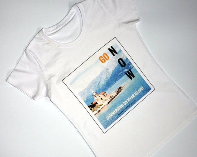 Gifts for travelers - white tshirt-Croatia-summer-island-gift for her-fashion print-travel gifts-blue prints-Hvar island-Chrismas gifts-trip