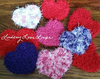 Heart Shaped Gentle Facial Scrubbies Scrubby. Party or Wedding Favors. Choose Your Favorite Colors. Easy to Wash. Handmade. Love Theme.
