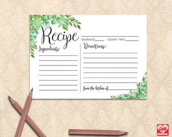 Printable Recipe Card | Bridal Shower Recipe Cards, Greenery, Botanical Tropical Shower, Greenery recipe Cards, Instant Download JPG