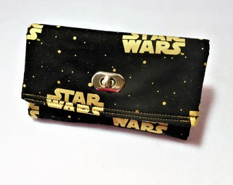 Star Wars Gold and Black Wristlet Wallet, Gold Star Wars Wallet, Star Wars Wristlet, Star Wars Gifts, Tri-Fold Wallet