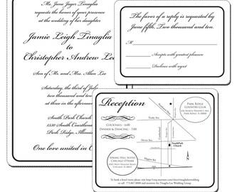 Black and White Classic Wedding Invitation Suite