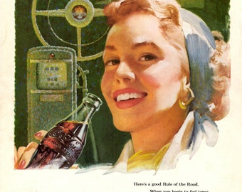 1953 Coca Cola vintage magazine ad showing a person who pause for a coke after a long drive enjoy a cold drink