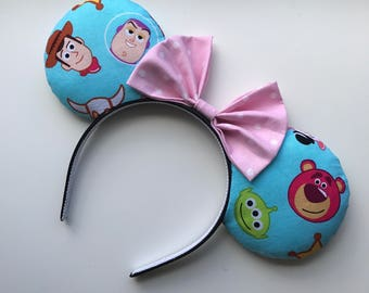 Toy Story Mickey Minnie Mouse Ears Woody Buzz Lightyear Aliens Lotso Bear Hamm Rex Head Band Headband Emoji