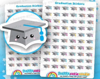 60 Cute Graduation/ Mortarboard/Student Planner Stickers, Filofax, Erin Condren, Happy Planner, ...