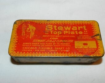 Stewart Top Plate for J1 & J2 Clipmater - Vintage Household Collectible Advertising Tin- with Stewart # E1 cutting plate for clippers  43-26