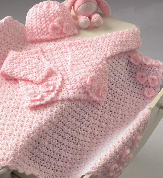 Baby Bolero Hat And Pram Blanket Crochet Pattern. PDF