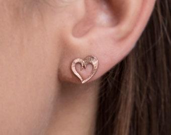 Open Heart Stud Earrings , 925 Sterling Silver