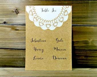 Wedding Seating Chart, Rustic Seating Chart, Kraft Seating Chart, Seating Chart Cards, Custom Seating Chart, Lace Seating (16-0001-002)