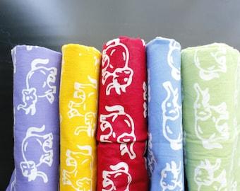 Indonesian Batik Fabric / Batik Fabric / Cute Batik Fabric/ Elephants Print / Animal Print / Panel / Handmade / Sarong / 180cm long