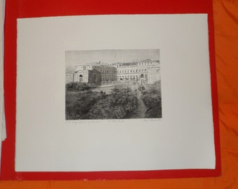 PAINTING etching and dry point of Maria Porrini The Royal Villa of Monza in ancient times