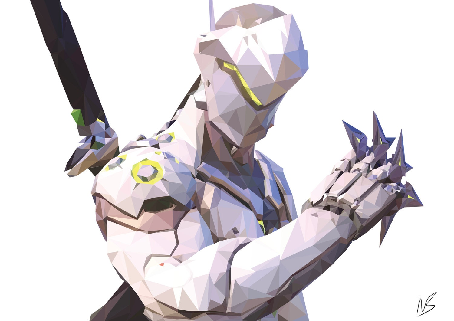 Overwatch Genji Low Poly A3 Print on Spiderman Addition