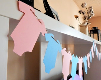 Gender Reveal Garland Baby Shower Decor Party Decor Gender Reveal Back Drop Paper Garland Baby Shower Garland Pink Baby onesies Garland