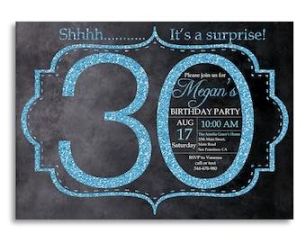 30th birthday invitation, Blue Glitter Birthday Party invite, Adult Surprise Birthday, Elegant, Aqua, Turquoise, Printable digital DIY