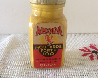 "Vintage Jar Of Joke French Dijon Mustard--""Amora Moutarde Forte 100""--Pop-Out Snake In A Jar--Gag Gift--Practical Joke--Slapstick Gag"