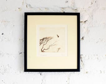 Framed original etching: 'Exmoor', hand-printed from a solar print.