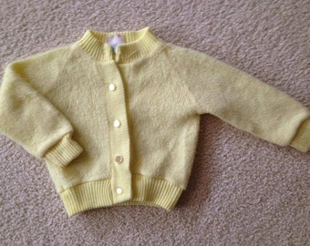 Vintage Baby Button-Front Cardigan Sweater, Fuzzy, Yellow, 18 mos.