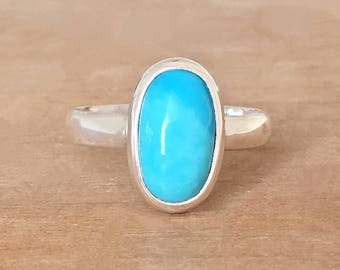 Turquoise Stacking Ring, Sterling Silver Turquoise Ring, Dainty Turquoise Ring, Silver Stacking Ring, Turquoise Ring, Blue Turquoise Ring