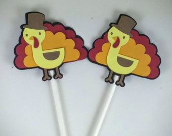 Turkey Cupcake Toppers, Thanksgiving Decor, Set of 24