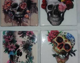 Skull Coasters, skulls and roses, Coasters, skulls