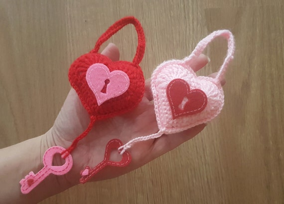 Crochet Wedding Gift: Crochet Heart Lock And Key Wedding Gift Valentines Day Gift