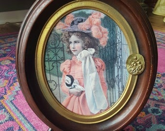 Victorian Walnut Oval Frame with Gold Detail