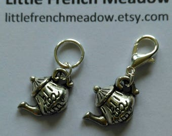 5 Tea Time Tea Pot markers - solid rings or lobster clasps