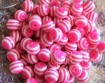 20pc. 12mm Hot Pink Striped Beads