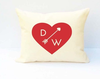 Couples Pillow,  Initial Pillow, Valentine Pillow, Personalized Pillow,  Custom Wedding Pillow,  Pillow Covers,