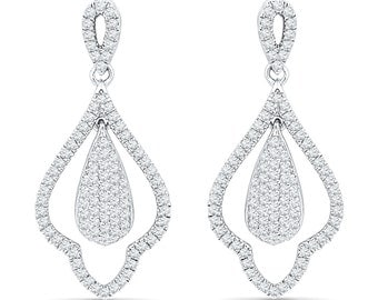 Diamond Chandelier Earrings With 1 CT. T.W., Diamond Bridal Earrings, Available In 10k, 14k White Gold or Sterling Silver