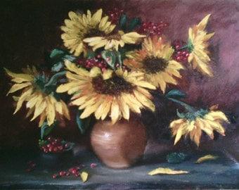 "oil painting, still life ""Sunflowers"" 50x70 cm"