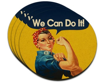 Rosie The Riveter We Can Do It Mdf Wood Coaster Set Of 4
