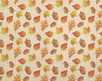 Autumn Leaves And Acorn Kraft Present Gift Wrap Wrapping Paper