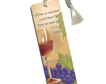 Wine Glass And Grapes Printed Bookmark With Tassel