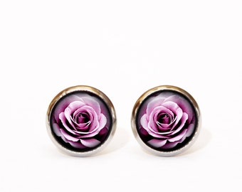 Flowers rose earrings Lilac earrings Purple earrings Floral earrings Everyday Earrings gift for her Christmas gift Lavendar Minimal Earrings