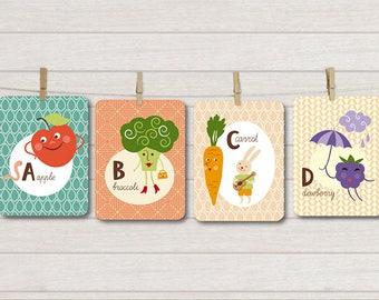 Alphabet & Vegetables Card Set, Printable Flash Cards, ABC Card Set, Letters and Illustrations, Alphabet Letters, Montessori Letters