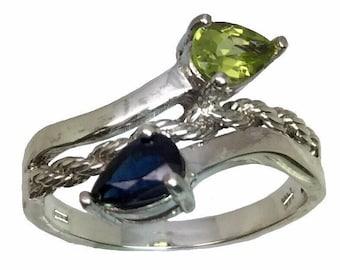 14k Blue Sapphire & Peridot Ring, FREE SIZING