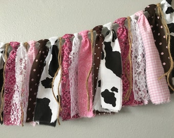 Cowgirl birthday banner,pink bandana banner, pink farm banner, highchair banner, cowgirl party, baby shower, cake smash, pony party decor