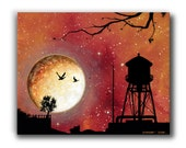 Giclée, Canvas Print, Acrylic Painting, Contemporary Art, Orange Moonscape, Reproduction, Portland, Oregon, Water Tower