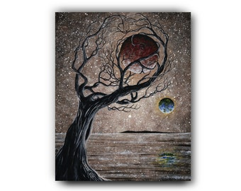Giclée, Sepia, Acrylic Painting, Moon, Planet, Seascape, Contemporary Art, Surrealism, Reproduction