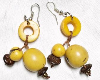 Yellow Tagua Nut Earrings - Tagua Earrings, Yellow Earrings,  Acai Seed, Sustainable Jewelry, Eco-Friendly, Dangle Earrings