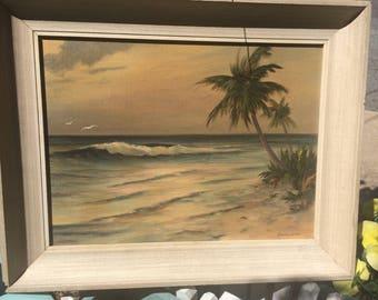 1957 Hollywood Hasselbar Seascape Delray Beach Florida Oil Painting