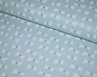 MICHAEL MILLER FABRIC Glitz gold and mint bow print cotton