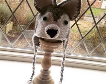 Childrens Crochet Husky Trapper/Beanie Hat
