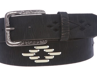 """1 1/2"""" (38 mm) Snap on Perforated Vintage Leather Jean Belt (M321)"""