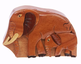 Handcrafted Wooden Elephant Shape Secret Jewelry Puzzle Box - Elephant (WH298)