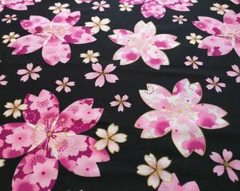 Japanese Fabric Sakura Cherryblossom Black