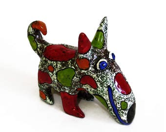 Dog Ceramic figurine, Miniature Dog art ceramic sculpture, pottery dog, ceramic dog, dog figurine, dog lover Gift