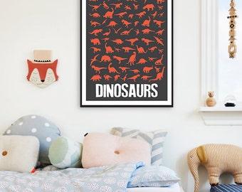 Dinosaur Children Nursery Decor Printable Poster,Dinosaur Boys Girls Nursery Art,Dinosaur Poster,Dinosaur Kids Art,Dinosaur Red Decor Art