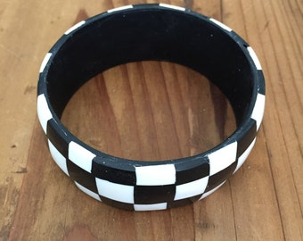 Black and White Chequered Bracelet