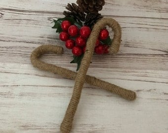 Twine Candy Cane Ornament, Candy Cane Ornament, Twine Ornaments, Rustic Christmas Ornament, Christmas Decorations, Christmas Gift, Handmade
